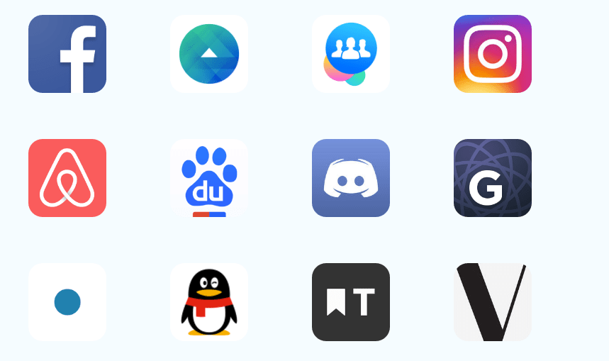 Logos of apps that use React Native