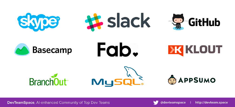 Logos of the companies that have outsourced their software development.