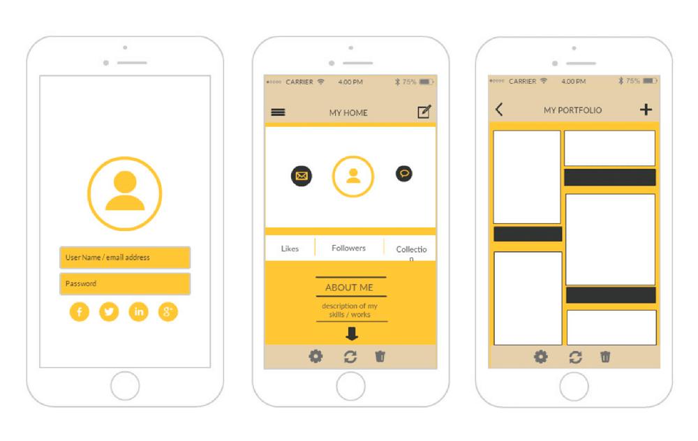 screenshots of a development outsourcing app