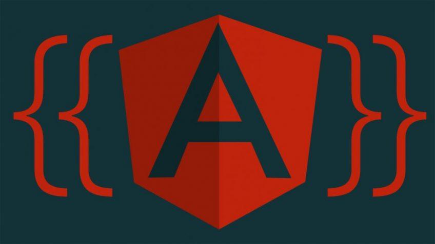 A red Angular logo on a dark background