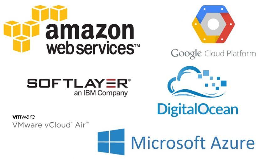 Different cloud vendors logos