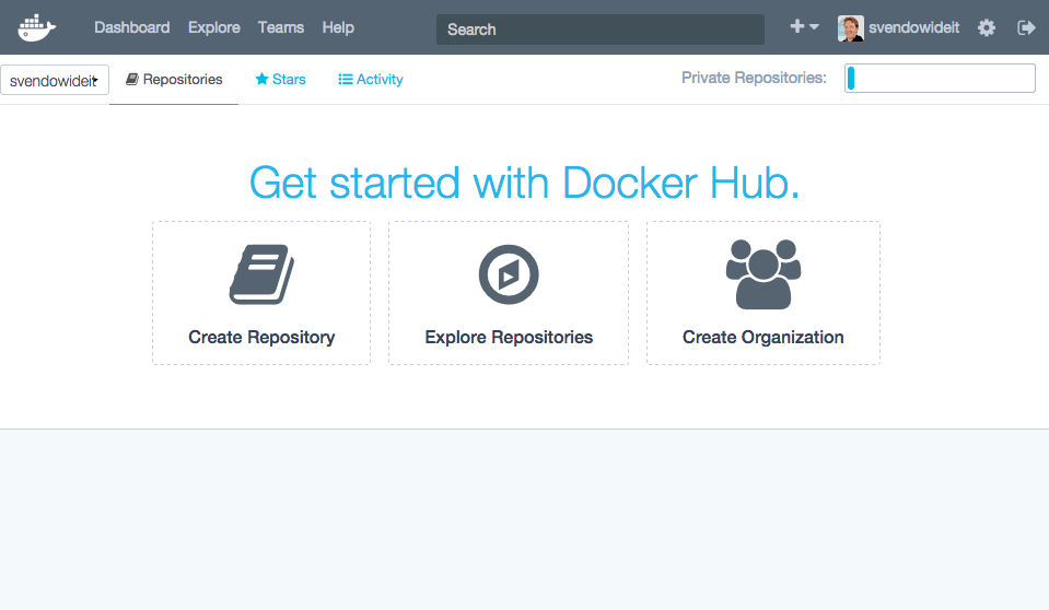 A start screen of Docker Hub