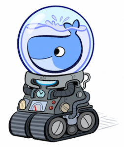 A stylized docker logo presented like a whale in a fishbowl on a robot body