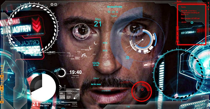 the Iron Man with a dashboard with different parameters