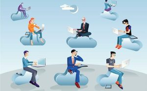 An illustration of people sitting on clouds and working on their laptops