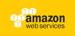 A logo of Amazon Web Services on a yellow background