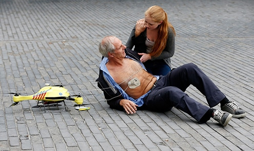 An illustration of a medical emergency drone