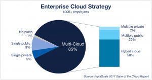 A chart representing the results of a survey on the enterprise cloud strategy