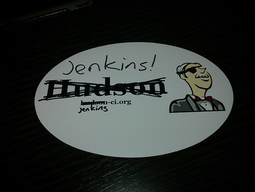 Sticker with a Hudson logo, on which the word Hudson is crossed out and Jenkins written instead