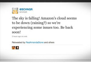 A screenshot of a tweet announcing that Amazon's cloud is down