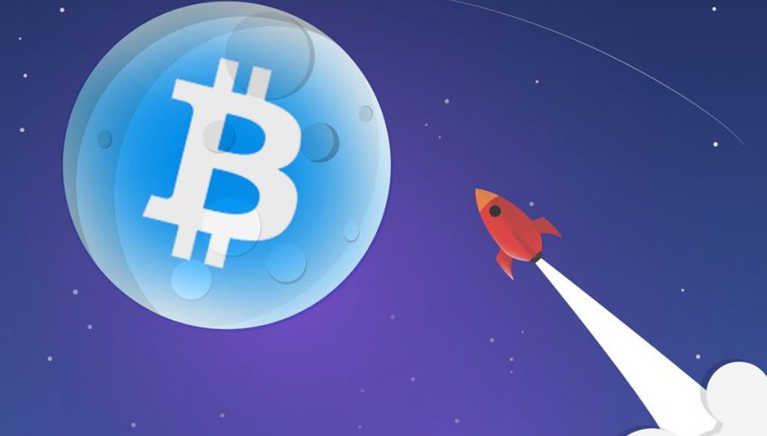 An illustration of a rocket launched towards the Moon with a bitcoin logo on it