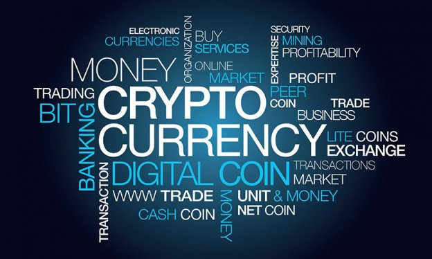 Different words related to cryptocurrency and digital coins on a blue background