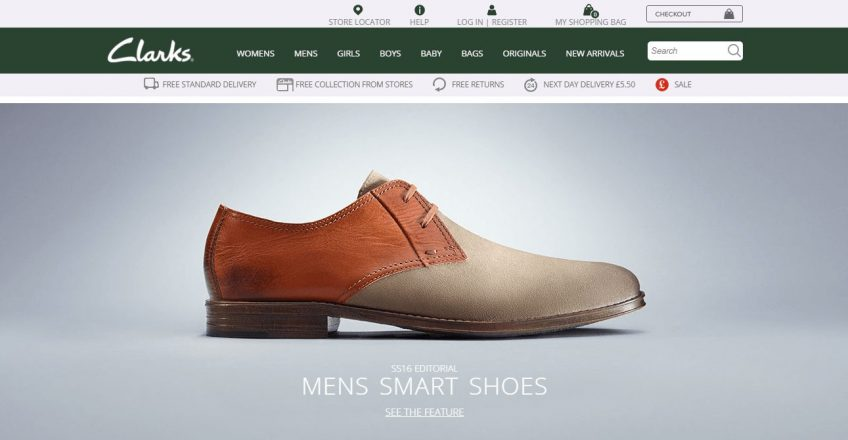 An illustration showing Clarks' home page with a mens shoe picture