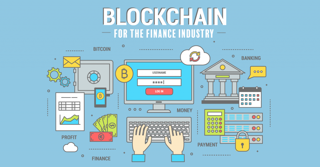 An infographic depicting examples of blockchain