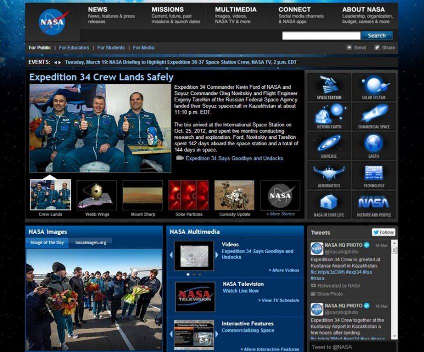 A NASA's website screenshot