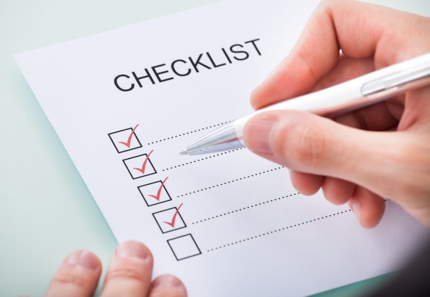 A photo of a checklist
