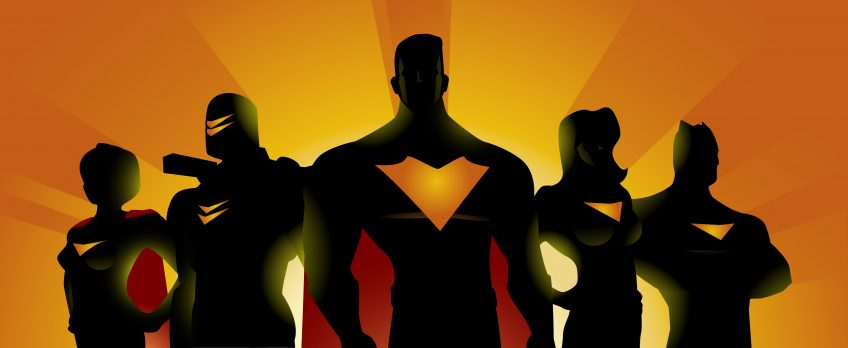 An illustration of 5 superheroes hidden in the shadows