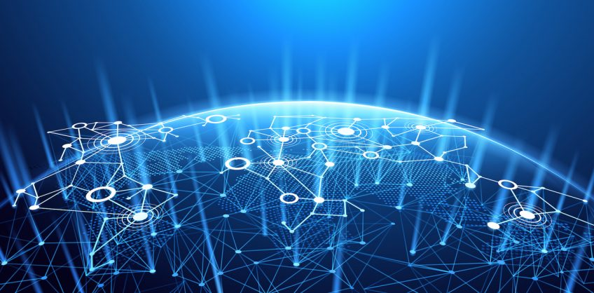 An illustration of a digital planet with interconnected nodes