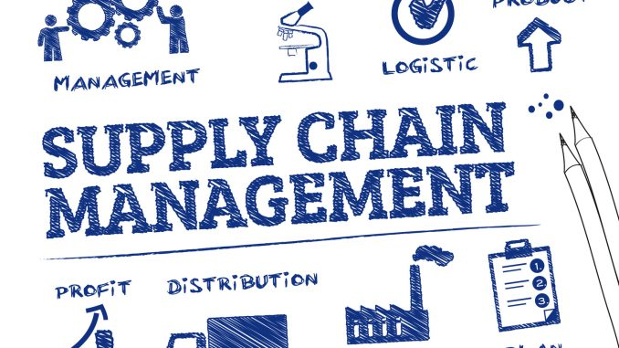 Blockchain for supply chain management illustration