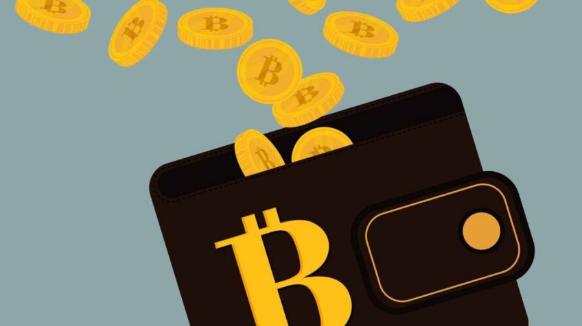 A wallet with a bitcoin logo and bitcoins which fly out of it