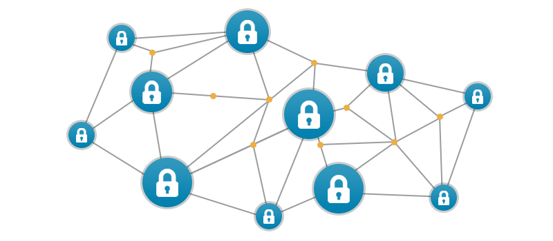 A network of connected nodes with a padlock inside each one of them
