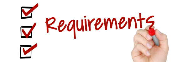 "A hand writing the word ""Requirements"" and three checked boxes next to it"