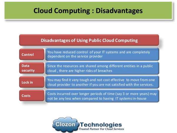 A list of cloud computing disadvantages