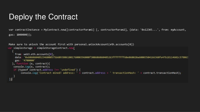 An example of Smart Contract code