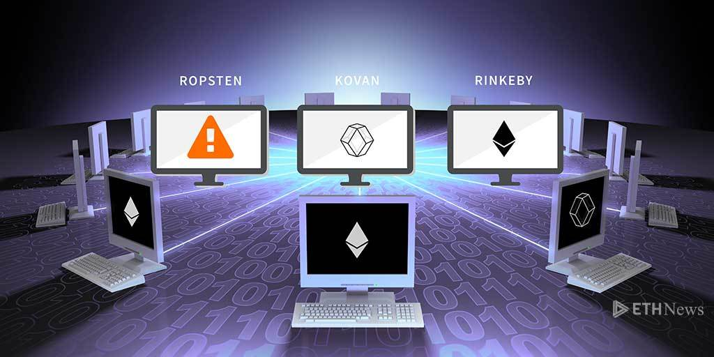 Three monitors with Ropsten, Kovan, and Rinkeby logos on them surrounded by laptops