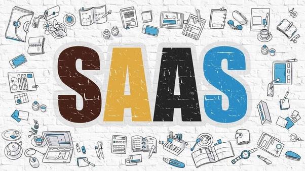 An illustration reading SaaS