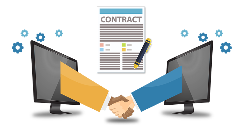 A handshake emerging from two monitors and a contract between them