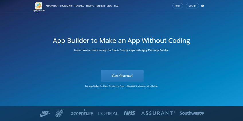 A start screen of the Appy Pie app-builder
