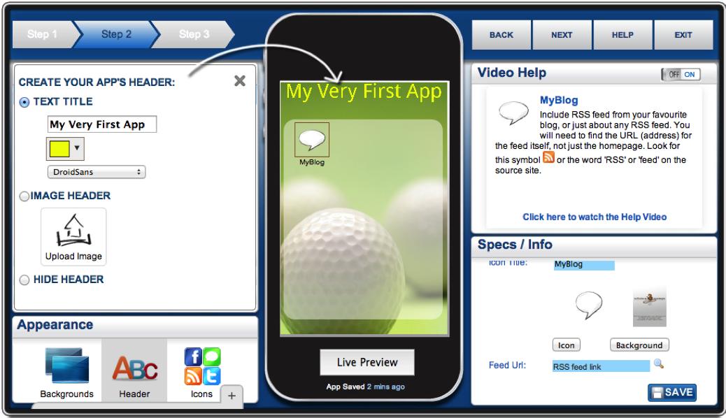 A screenshot of AppMkr