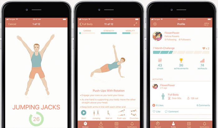 a screenshot of fitness app