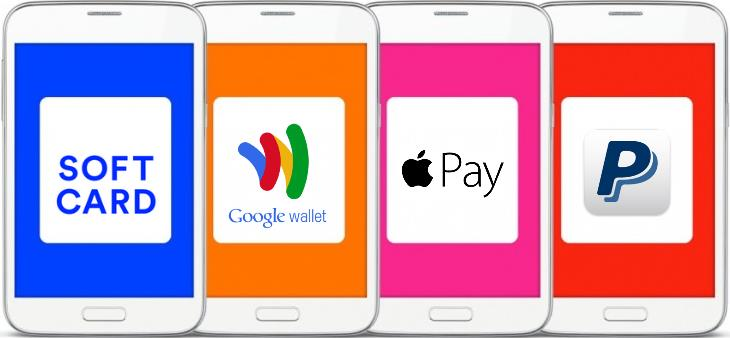 Soft Card, Google Wallet, Apple Pay, and PayPal logos
