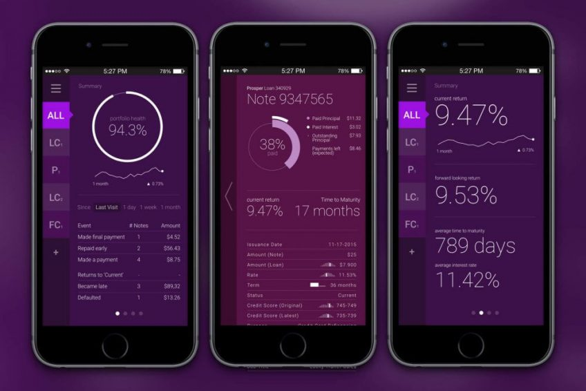 Three examples of investment app dashboards on smartphone screens