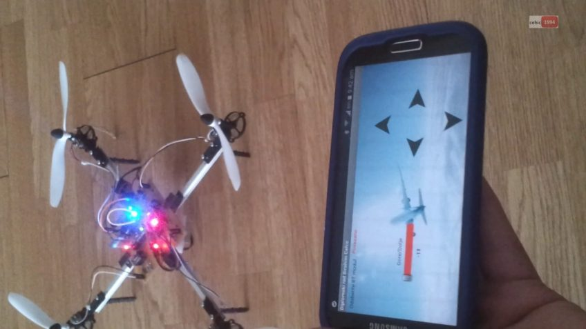 An image of a drone and a smartphone with controls