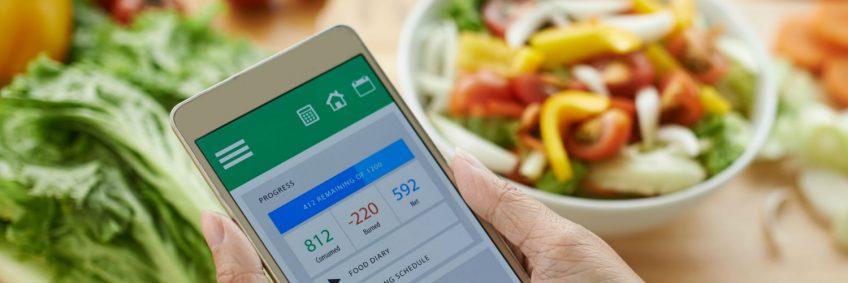 An illustration of a diet app