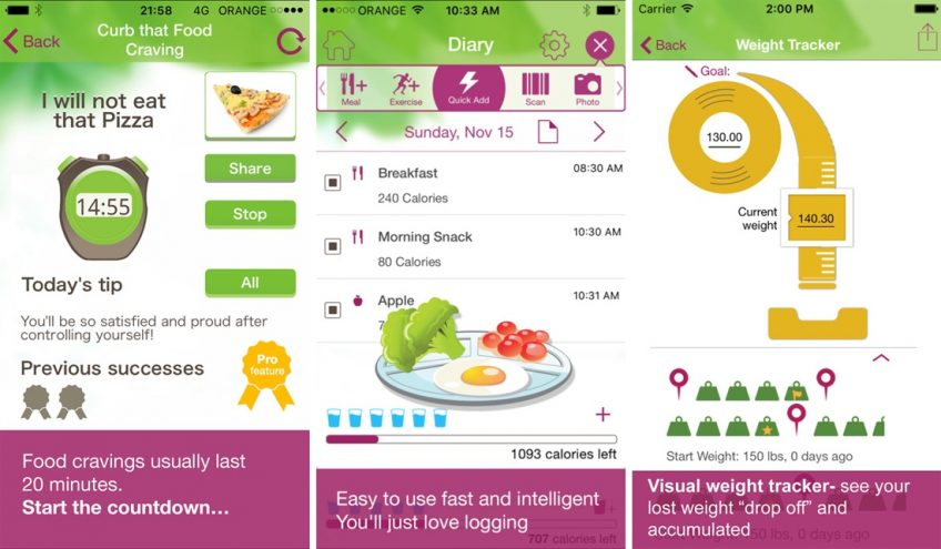 Screenshots of a diet app