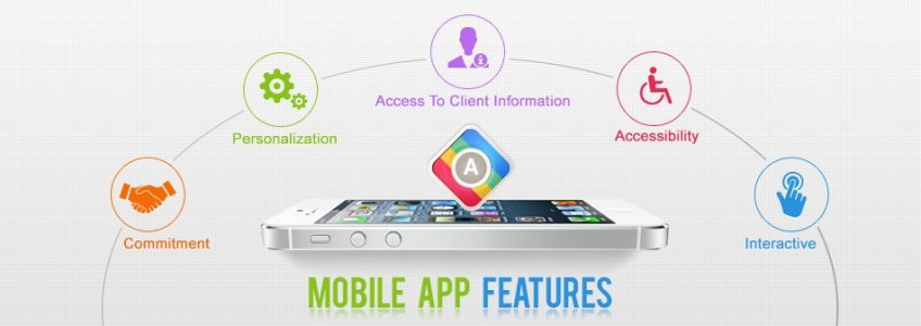 A diagram of the main mobile app features