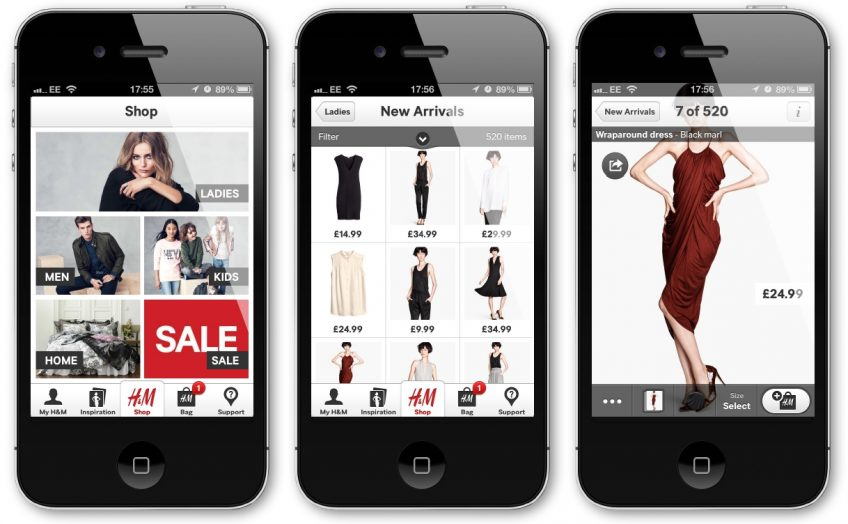 Screenshots of online shopping mobile apps