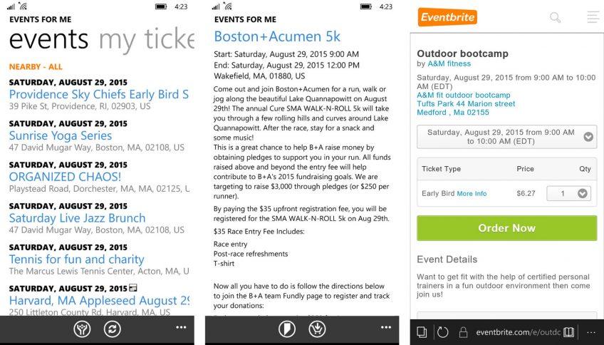 A screenshot of Eventbrite, an event planning app