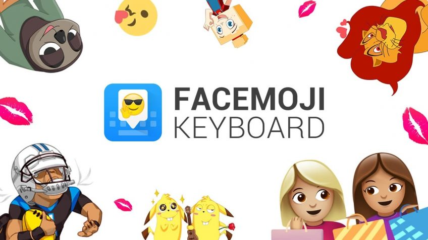 Different icons illustrating the Facemoji Keyboard