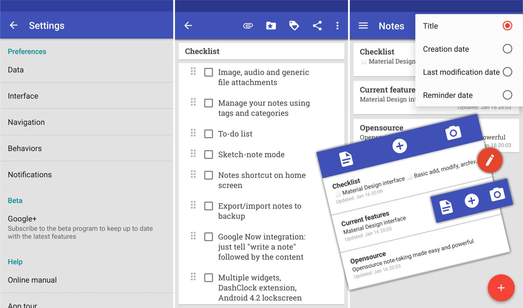 A screenshot of a note-taking app