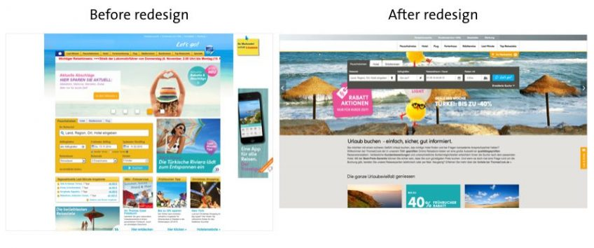 An illustration of a website before and after redesign