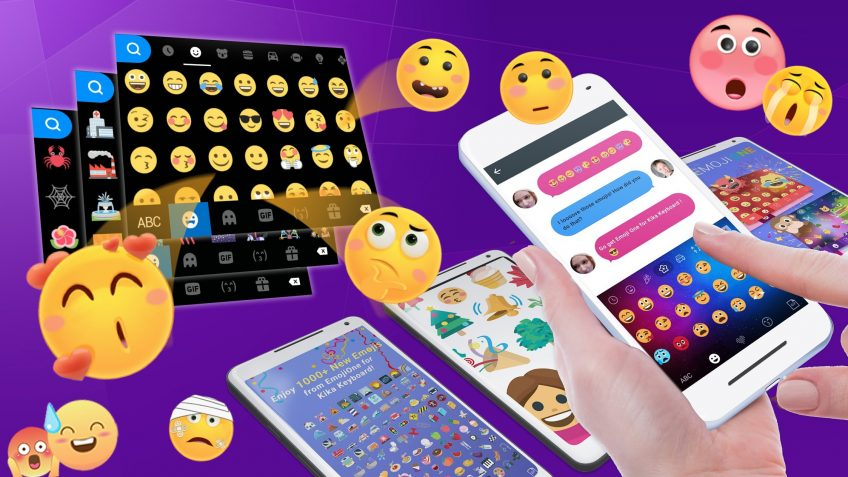 An illustration showing two hands typing a message with different emojis popping up from the background