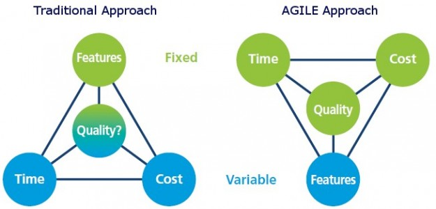 A schematic representation of the traditional and Agile process