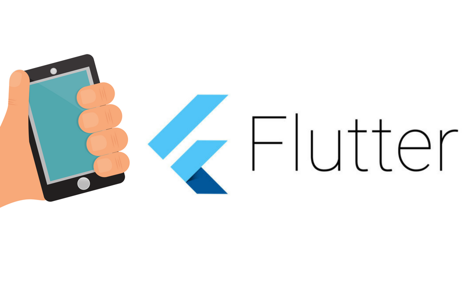 A logo of Flutter