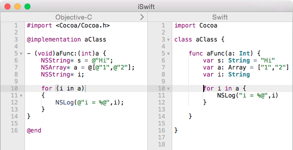 A screenshot comparing Objective-C and Swift code