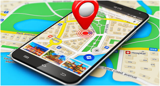 An illustration of a smartphone with Google Maps emerging out of it